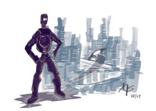 15-min. sketch: Robot-city
