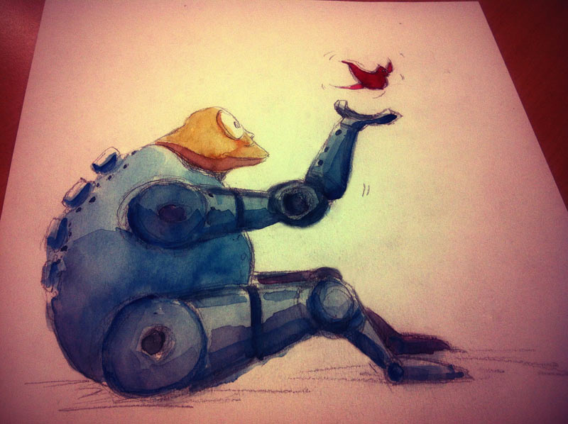Quick watercolor painting: Robot with a bird