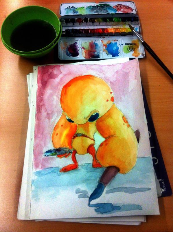 Watercolor painting: Creature painter
