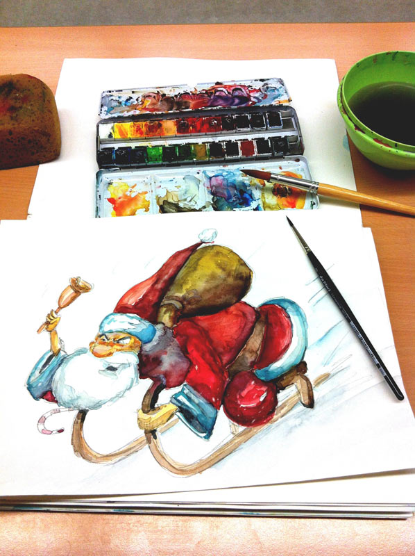 Watercolor painting: Santa Claus