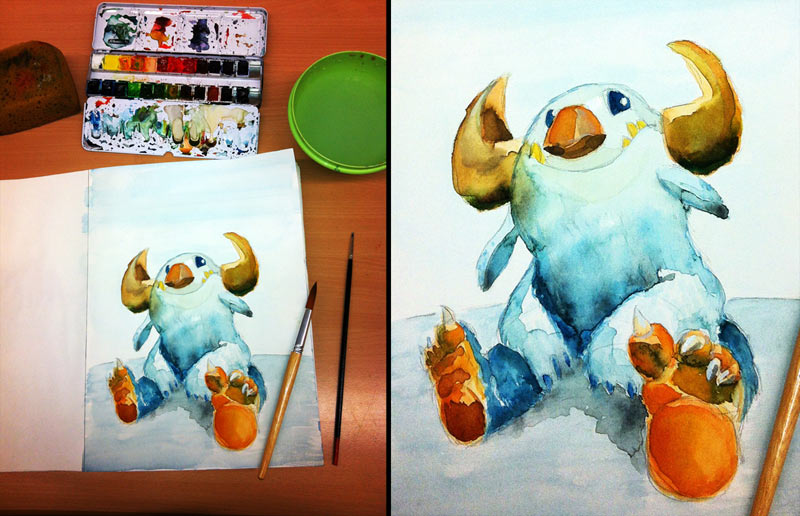 Watercolor painting: Sitting monster
