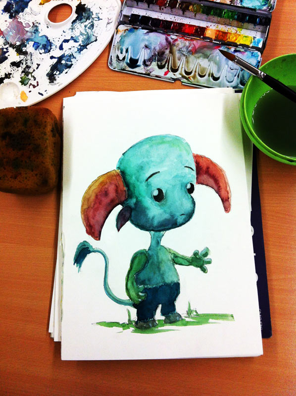 Watercolor painting: Cute creature