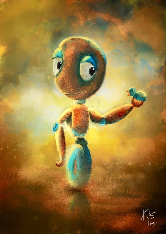 Digital painting – Robot & bird